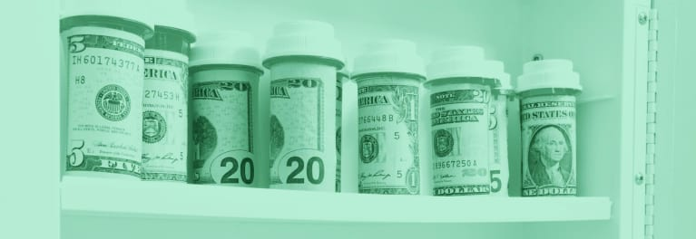 An illustration of prescription bottles with money inside for an article on healthcare costs