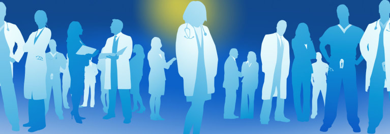 A blue illustration of doctors to represent finding a doctor.