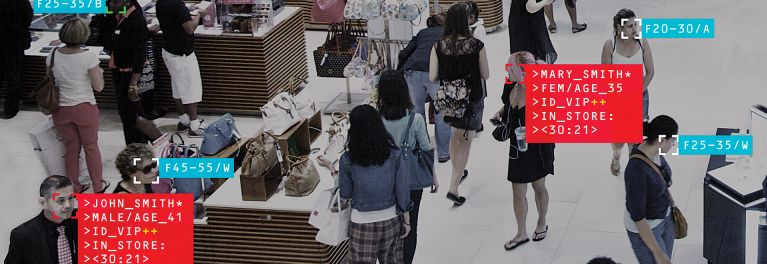 Shoppers in a department store, for a story on how facial recognition is now being adopted by companies.