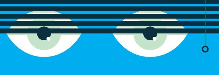 Eyes peeking through blinds.