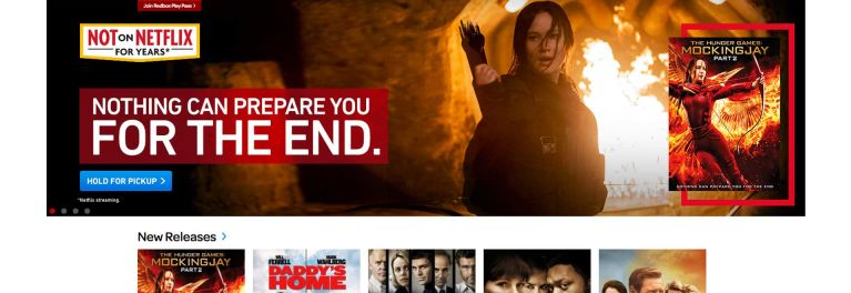 A new Redbox streaming service is rumored. The image shows the Redbox website home page.