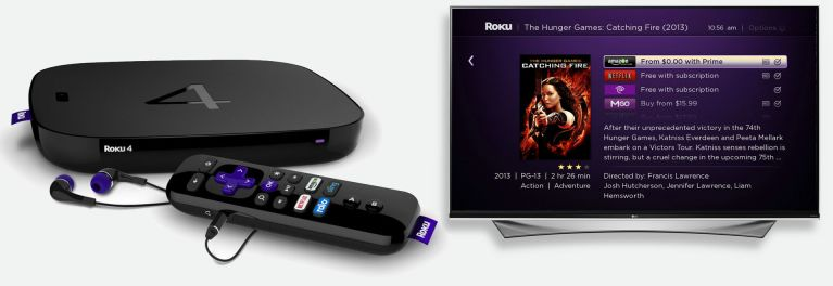 Photo of the Roku 4 streaming media player and search screen.