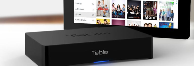 Photo of the Nuvyyo Tablo 2-Tuner DVR and program guide.