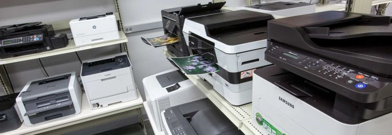 Tests in the Consumer Reports lab to find the best printers.