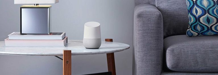 Google Home speaker, in a living room
