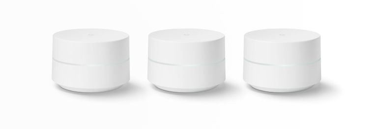 A set of three Google WiFi routers available for $300.