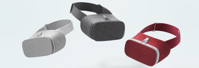 This is a photo of three Google Daydream VR headsets.