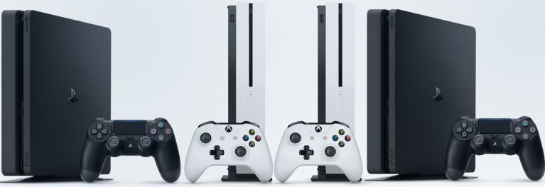 Xbox One and PlayStation 4 models in a lineup.