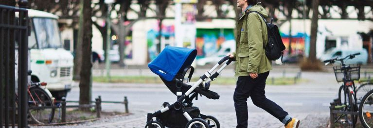 Bugaboo Buffalo stroller in a city setting.