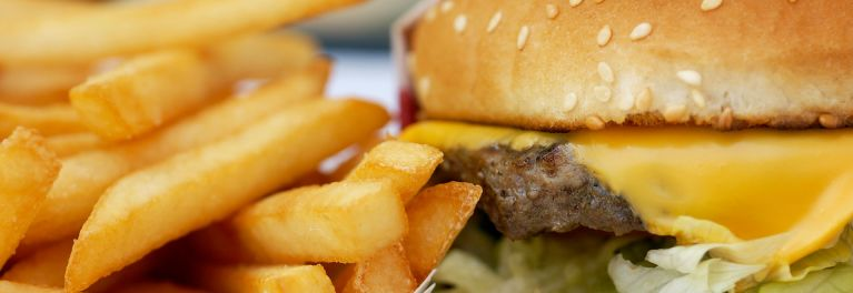 Hamburger and french fries. Many fast food chains serve meat raised with antibiotics.