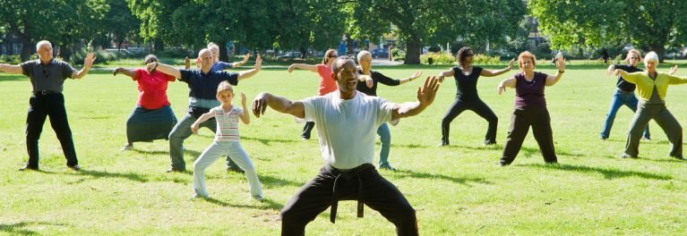 People in Tai Chi class; Tai Chi Benefits Heart Health