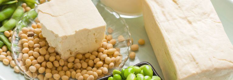 Several soy foods: tofu, soybeans, edamame, soy milk.