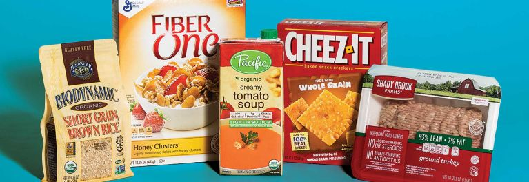 This shows packaged foods with label claims. Food label claims can make us think foods are healthier than they really are.