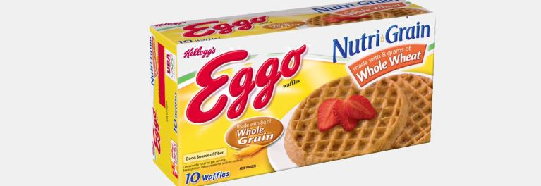 A package of Eggo Nutri-Grain Whole Wheat Waffles