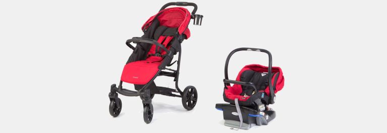 The Combi travel system stroller and infant car seat.