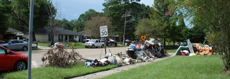 Debris on the curb after flooding.