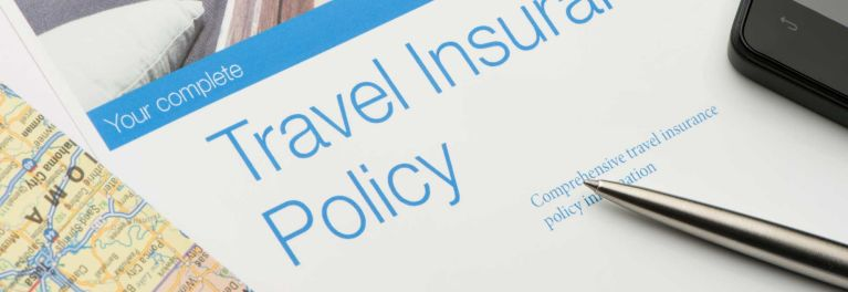 Close-up of travel insurance policy