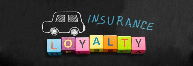 Conceptual sketch of a car driving across the building blocks of insurance customer loyalty.