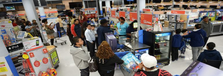 Photos of shoppers inside a Walmart store.